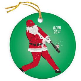 Baseball Porcelain Ornament Home Run Santa
