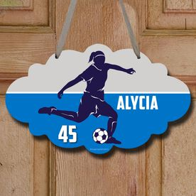 Soccer Cloud Sign Personalized Soccer Girl Name and Number