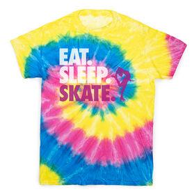 Figure Skating Short Sleeve T-Shirt - Eat. Sleep. Skate Tie Dye