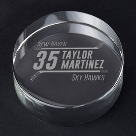 Hockey Personalized Engraved Crystal Puck - Personalized Icon