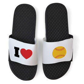 Softball White Slide Sandals - I Heart Softball