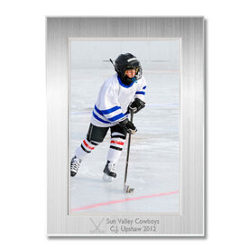 Engraved Hockey Frame Silver 4 x 6 with Hockey Icon