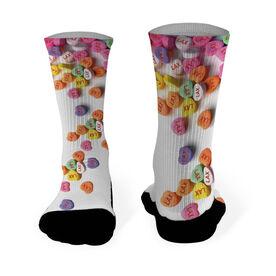 Girls Lacrosse Printed Mid Calf Socks LAX Candy Hearts