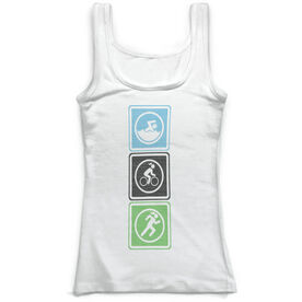 Triathlon Vintage Fitted Tank Top - Swim Bike Run Blocks