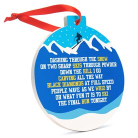 Skiing Round Ceramic Ornament - Jingle All the Way
