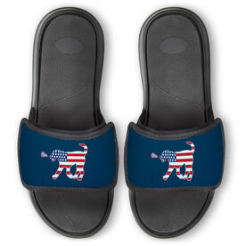 Girls Lacrosse Repwell™ Slide Sandals - Patriotic Lula the Lax Dog