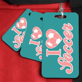 Soccer Bag/Luggage Tag I Heart Soccer (Ball)