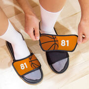 Basketball Repwell® Slide Sandals - Ball and Number Reflected