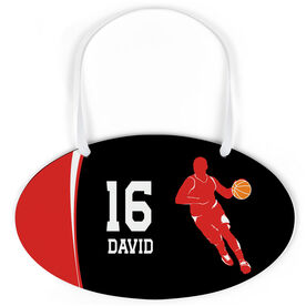 Basketball Oval Sign - Personalized Basketball Guy with Big Number