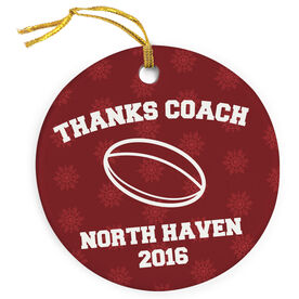 Rugby Porcelain Ornament Thanks Coach