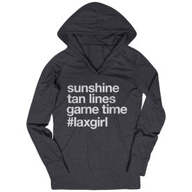 Girls Lacrosse Lightweight Performance Hoodie - Sunshine Tan Lines Game Time