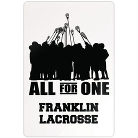 """Guys Lacrosse Aluminum Room Sign (18""""x12"""") Personalized All For One"""