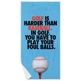 Golf Premium Beach Towel - Is Harder Than Baseball