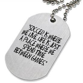 Soccer Is Where We Live Printed Dog Tag Necklace