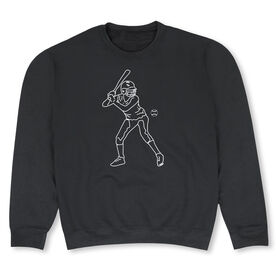 Softball Crew Neck Sweatshirt - Softball Batter Sketch