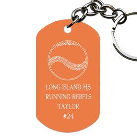 Engraved Personalized Baseball Dog Tag Keychain