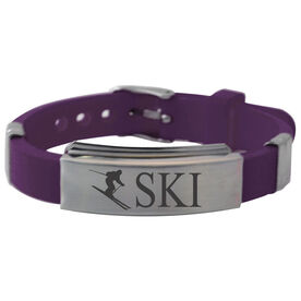 Skiing Silicone Bracelet - Skier Silhouette