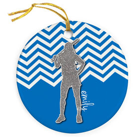 Softball Porcelain Ornament Personalized Faux Glitter Chevron Pattern