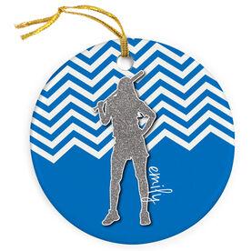 Softball Porcelain Ornament Personalized Faux Glitter Chevron Pattern