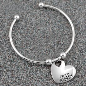 Silver Field Hockey Heart On Silver Plated Cuff Bracelet