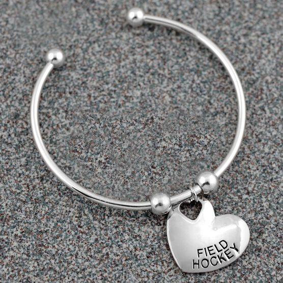 Silver Field Hockey Heart On Silver Plated Cuff Bracelet
