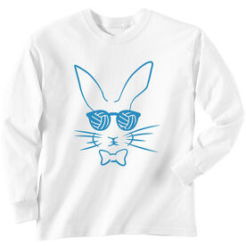 Volleyball Tshirt Long Sleeve Hopster Volleyball Bunny [White/Adult Large] - SS