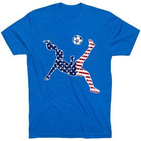Soccer T-Shirt Short Sleeve - Girls Soccer Stars and Stripes Player