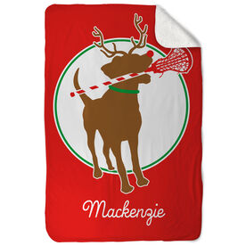 Girls Lacrosse Sherpa Fleece Blanket Jingles the Reindeer Lax Dog