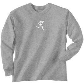 Girls Lacrosse Long Sleeve T-Shirt - Lacrosse Girl White Stick Figure