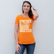 Soccer Women's Everyday Tee - Stressed Blessed Soccer Obsessed