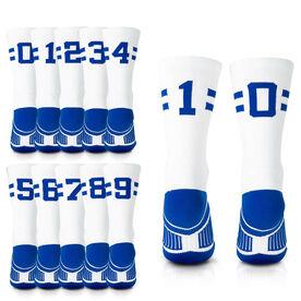 Team Number Woven Mid-Calf Socks - White/Royal Stripe