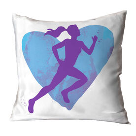 Cross Country Throw Pillow Watercolor Heart Girl