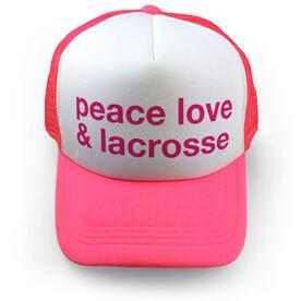 Girls Lacrosse Trucker Hat - Peace Love & Lacrosse