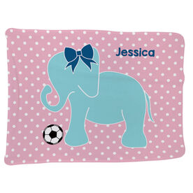 Soccer Baby Blanket - Soccer Elephant with Bow