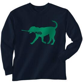 Guys Lacrosse Long Sleeve T-Shirt - Jax The Lax Dog