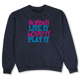 Softball Crew Neck Sweatshirt - Softball Live It Love It Play It