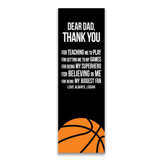 """Basketball 12.5"""" X 4"""" Removable Wall Tile - Dear Dad (Vertical)"""