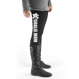 Hockey High Print Leggings Goalie Mom with Silhouette