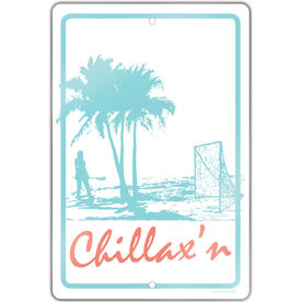 "Lacrosse Aluminum Room Sign Chillax'n Female (18"" X 12"")"