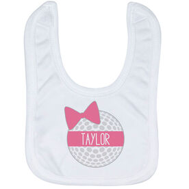 Golf Baby Bib - Personalized Golf Ball Bow