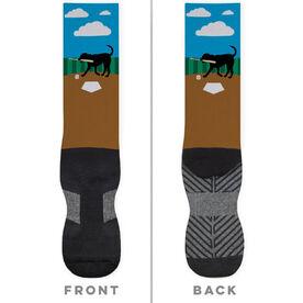 Baseball Printed Mid-Calf Socks - Buddy The Baseball Dog