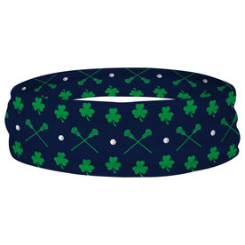 Guys Lacrosse Multifunctional Headwear - Crossed Sticks and Shamrocks Pattern RokBAND