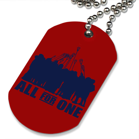 Lacrosse Printed Dog Tag Necklace All for One (Blue) Lacrosse