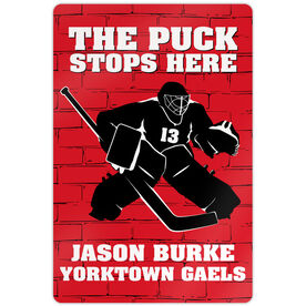 "Hockey Aluminum Room Sign (18""x12"") Personalized Brick Wall Goalie"