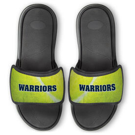 Tennis Repwell™ Slide Sandals - Tennis Ball Texture with Text