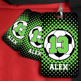 Soccer Bag/Luggage Tag Personalized Soccer Ball with Dots Background