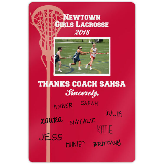 "Lacrosse 18"" X 12"" Aluminum Room Sign Personalized Thanks Coach Team Photo with Signatures"