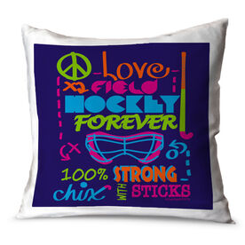 Field Hockey Throw Pillow Peace Love Field Hockey Forever