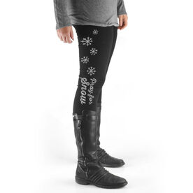Skiing & Snowboarding High Print Leggings - Pray For Snow