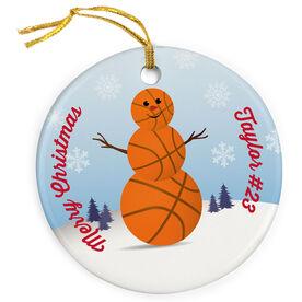 Basketball Porcelain Ornament Snowman